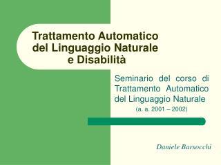 Trattamento Automatico del Linguaggio Naturale  e Disabilità