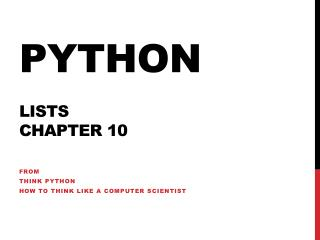 Python LISTS chapter 10