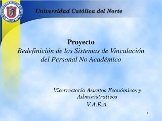 Proyecto  Redefinición de los  Sistema s  de Vinculación del Personal No Académico