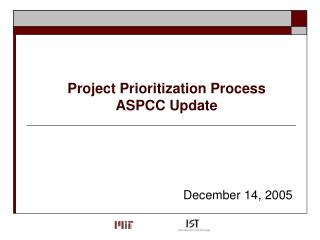 Project Prioritization Process  ASPCC Update
