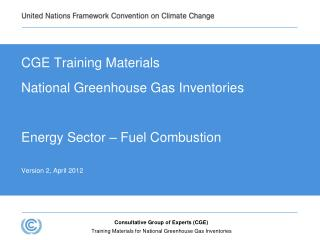 CGE Training Materials National Greenhouse Gas Inventories Energy Sector – Fuel Combustion