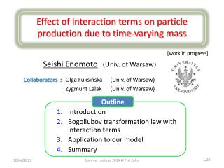 Effect  of interaction terms on particle production due to time-varying mass