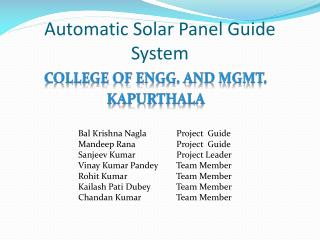 Automatic Solar Panel Guide System