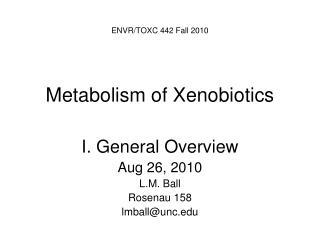 Metabolism of Xenobiotics