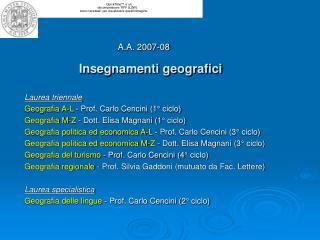 Insegnamenti geografici
