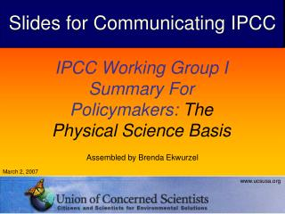 IPCC Working Group I Summary For Policymakers:  The Physical Science Basis