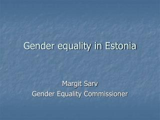 Gender equality in Estonia