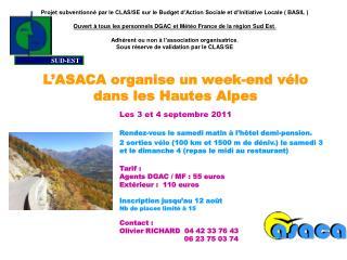 L'ASACA organise un week-end vélo  dans les Hautes Alpes