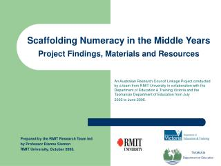 Scaffolding Numeracy in the Middle Years  Project Findings, Materials and Resources