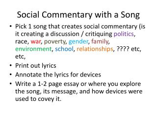 Social Commentary with a Song