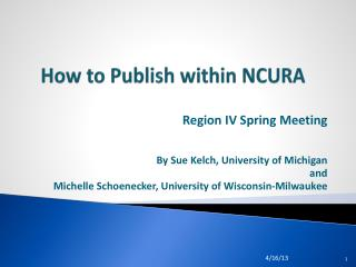 How to Publish within NCURA
