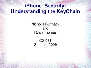 iPhone  Security: Understanding the KeyChain