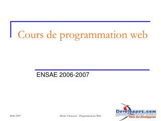 Cours de programmation web