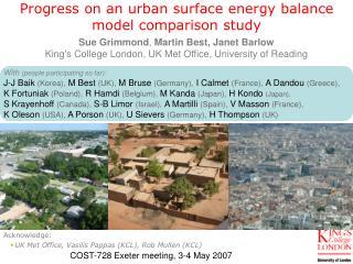 Progress on an urban surface energy balance model comparison study