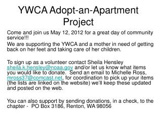 YWCA Adopt-an-Apartment Project