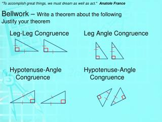 Bellwork  –  Write a theorem about the following Justify your theorem