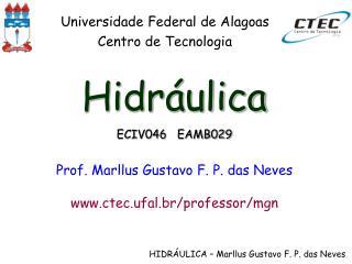 Hidráulica ECIV046   EAMB029 Prof. Marllus Gustavo F. P. das Neves ctec.ufal.br/professor/mgn