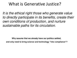 What is Generative Justice?