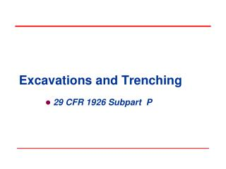 Excavations and Trenching