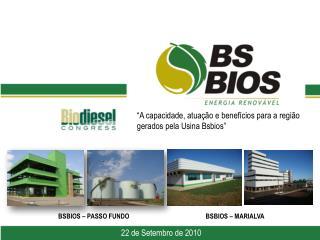 """""""A capacidade, atuação e benefícios para a região gerados pela Usina  Bsbios """" 6 de abril de 2010"""