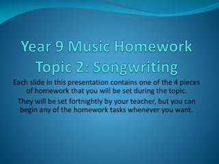 Year 9 Music Homework Topic 2:  Songwriting