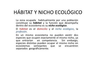 HÁBITAT Y NICHO ECOLÓGICO