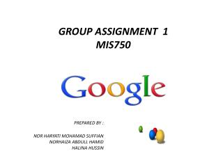 GROUP ASSIGNMENT  1 MIS750