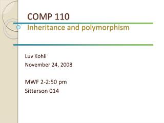 COMP 110 Inheritance and polymorphism