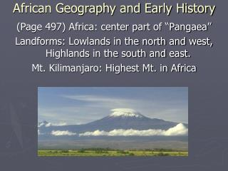 African Geography and Early History