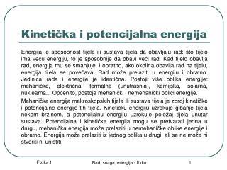 Kineticka i potencijalna energija