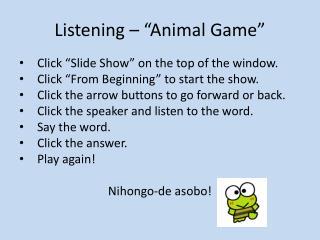 """Listening – """"Animal Game"""""""