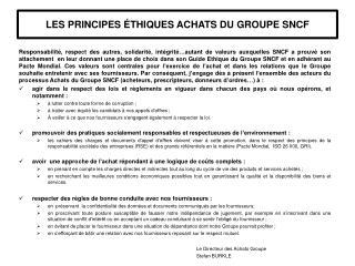LES  PRINCIPES ÉTHIQUES ACHATS  DU GROUPE  SNCF