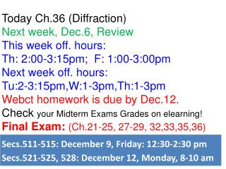 Today Ch.36 (Diffraction)  Next week, Dec.6, Review This week off. hours: