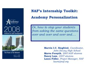 NAF's Internship Toolkit:   Academy Personalization