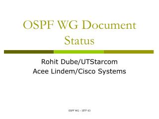 OSPF WG Document Status