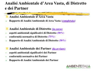 Analisi Ambientale d'Area Vasta, di Distretto  e dei Partner