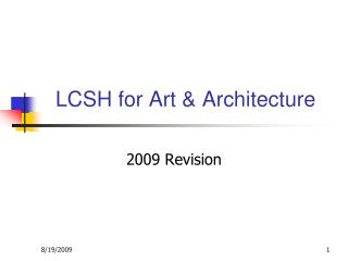 LCSH for Art  Architecture