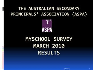 The Australian Secondary Principals' Association (ASPA) MYSchool  Survey March 2010  Results