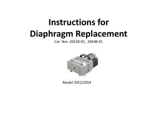 Instructions for  Diaphragm Replacement Cat. Nos. 2052B-01,  2054B-01