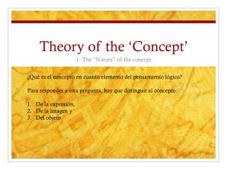 Theory of the 'Concept'