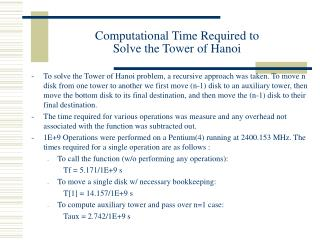 Computational Time Required to  Solve the Tower of Hanoi