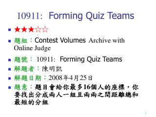 10911:  Forming Quiz Teams