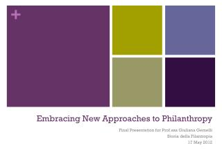 Embracing New Approaches to Philanthropy