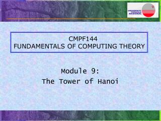 CMPF144 FUNDAMENTALS OF COMPUTING THEORY