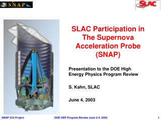 SLAC Participation in The Supernova Acceleration Probe (SNAP)
