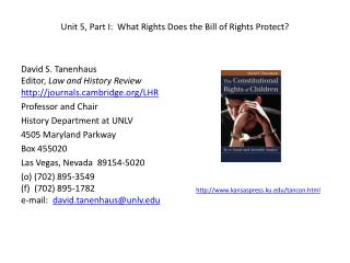 Unit 5, Part I:  What Rights Does the Bill of Rights Protect?