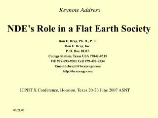 NDE's Role in a Flat Earth Society