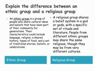 Explain the difference between an ethnic group and a religious group