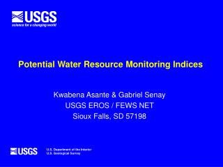 Potential Water Resource Monitoring Indices