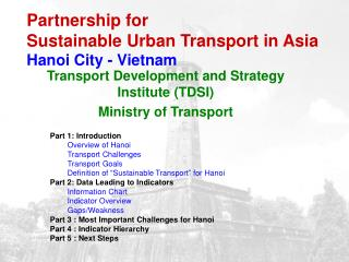 Partnership for  Sustainable Urban Transport in Asia Hanoi City - Vietnam